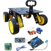 4 Wheel Drive Smart Robotic Chassis for DIY Robotics Complete kit with Arduino servo Sensor Motor Driver