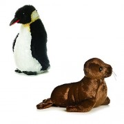 Aurora 8 Mini Emperor Penguin California Sea Lion Flopsies Bundle