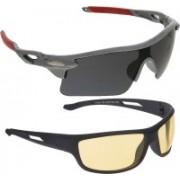 Vast Sports, Wrap-around Sunglasses(Grey, Yellow)