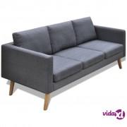 vidaXL Trosjed Sofa od Tkanine Tamno Sivi
