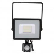 V-TAC LED venkovní reflektor 50W/230V/6400K/4000Lm/100°/IP65, pohybový senzor, černý