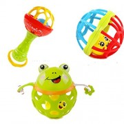 Baby Rattles Teethers Set, 3 Pieces Colorful Rattle Soft Ball Toy Hand Catch Shaker Bell Ring Teether Toys Gift Play Set for Newborn Baby,Infant Toddler Nursery