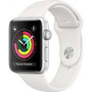 Apple Watch 3 MTEY2MP/A, GPS, Carcasa Silver Aluminium 38mm, White Sport Band, 38 mm, Argintiu