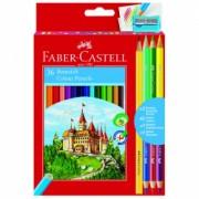 Creioane colorate 36 culori Faber Castell + ascutitoare 3 creioane bicolore si 1 creion grafit 110336