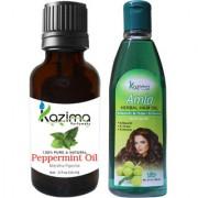 KAZIMA Combo of Peppermint Oil 15ML and Amla Herbal Hair Oil 100ML Anti Hair Loss Treatment Dandruff Control