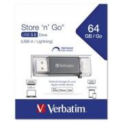 Pendrive, 64GB, USB 3.0, Lightning csatlakozó, VERBATIM Lightning grafit szürke (UV64GLG3)