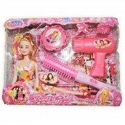 D C Pretty Girl Fashion Designer Princess Stylish Barbie Dress Up Doll Play Set With Hair Brush, Hair Dryer,Hair Clip, Ring & More Accessories - Children Toy for Girls & Kids