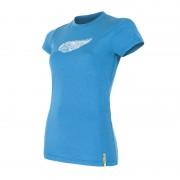 Sensor 100% merino wol t-shirt korte mouw dames blauw