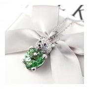Lant argint cu elemente SW Big Crystal ursulet verde