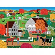 Bits And Pieces - 300 Large Piece Jigsaw Puzzle For Adults Horse Country Pc Fall On The Farm By Artist Mark Frost