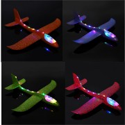 4PCS 19'' Hand Launch Throwing Aircraft Airplane Glider DIY Inertial EPP Plane Toy With LED Light