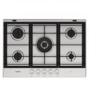 Plita incorporabila Whirlpool Fusion GMW 7522/IXL, Gaz, 5 arzatoare, Suporturi fontă, 73 cm, Inox