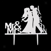 ELECTROPRIME® Wedding Cake Toppers Mr and Mrs with Name Bride and Groom Cake Decoration