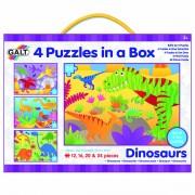 Set 4 puzzle-uri Galt Dinozauri, 12, 16, 20, 24 piese, 3 ani+