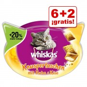 Whiskas Snacks para gatos en oferta: 6 + 2 ¡gratis! - Temptations - Pollo & Queso (8 x 72 g)