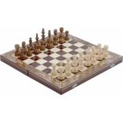Joc Sah si Table din Lemn Lucrat Manual 44x44 cm Maro cu Alb