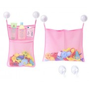 [2 Pack] Bath Tub Toy Mesh Organizer + 6 Strong Suction Cup Hook, Zooawa Bathroom Multi-use Storage Net Bag 4 Pockets + 1 Pocket for Kids, Toddlers and Adults, Pink