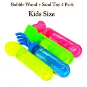 Affordable Bubble Wands Value Pack Assortment Party Favor Assorted Colors & Shapes Non Toxic Summer Toy Outdoor Game Kids Birthday (Sand Set 4 Piece Small)