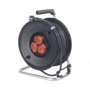 Prelungitor electric pe tambur de plastic 3 prize 33m cablu cauciuc 3x2,5 mm², pentru exterior IP44