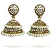 Rabbi Gold Plated Ethnic Cultural Alia Big Pearl Jhumka Earring