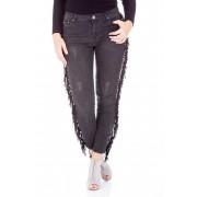 Jeans skinny cu franjuri