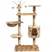 vidaXL Ansamblu pisici, funie de sisal, 125 cm, imprimeu lăbuțe, bej