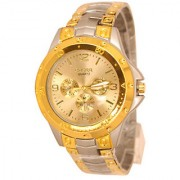Rosra male stainless steel gold circle dial gold band quartz watches