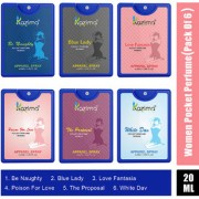 KAZIMA Pocket Perfume For Women 20ML Each (BeNaughty BlueLady LoveFantasia Poisonforlove TheProposal WhiteDav(Pack of 6)