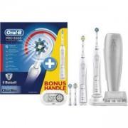 Комплект електрически четки за зъби Oral-B Smart Series PRO 6500 CrossAction, Bluetooth, 2 дръжки, 4 глави, Бял