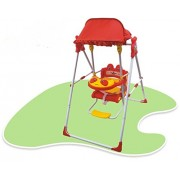 Baby Garden Swing Musical with Good Quality Iron Stand with hut Good Quality Plastic Multi-Coloured for Kids Colour Available Green