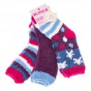 Комплект 3 чифта детски хавлиени чорапи Z-1053 сини, лилави и цикламени универсални размери 27-30