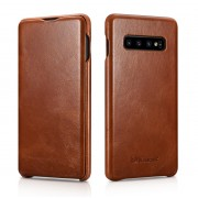 ICARER Curved Edge Vintage Genuine Leather Case for Samsung Galaxy S10 Plus - Coffee