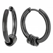Stainless Steel Cambered Huggie Hoop Small Ring Charms Ear Lobe Black Color Earrings for Men & Women