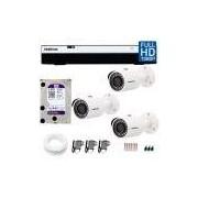 Kit 3 Câmeras de Segurança Full HD 1080p Intelbras VHD 3230 + DVR Intelbras Full HD 4 Ch + HD WD Purple 3TB + Acessórios