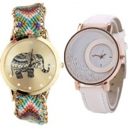 Neutron New Fashion Elephant And Movable Dimond Analogue Multi Color And White Color Girls And Women Watch - G157-G183 (Combo Of 2 )