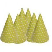 Party kalap ,pöttyös, sárga, 6 db/cs