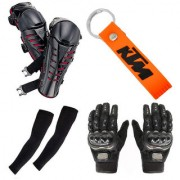 Spidy Moto KTM Orange Key Chain 2 Arm Sleeves 1 Pair Pro-Biker Hand Gloves 1 Pair Knee Guard Combo for Biker/Rider