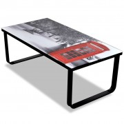 vidaXL Coffee Table with Telephone Booth Printing Glass Top