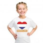 Bellatio Decorations Nederlandse vlag in hartje shirt wit kind