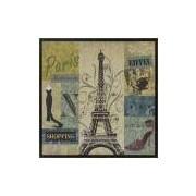 Quadro Decorativo Impressão Digital Em Tela Paris Torre Eiffel Shopping 63x63cm