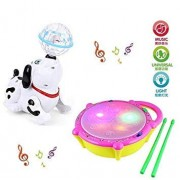 Zuffon Flash Drum and Dancing Dog Musical Toys and 3D Lights and Wonderful Music for Kids (Multicolour)