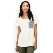 ランズエンド LANDS' END レディース・ポリクレープ・ストライプポケットT/半袖/Tシャツ(エッグシェルホワイト)