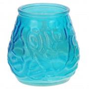 Merkloos 3x Stuks citrus geurkaars in glazen houder blauw