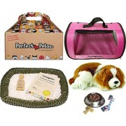 Perfect Petzzz Breathing Cavalier King Charles Plush Puppy Dog with Pink Tote For Plush Breathing Pet and Dog Food, Treats, and Chew Toy