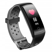 LCD Screen Heart Rate Health Monitoring Bluetooth Smart Bracelet with Silicone Strap - Grey