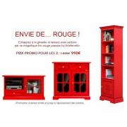 PROMO ROUGE - Trio meubles en finition rouge