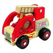 Bino maşină de pompieri din lemn, roşie