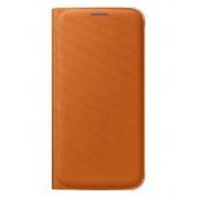 Husa Samsung EF-WG920BOEGWW tip carte portocalie (textil) pentru Samsung Galaxy S6 (SM-G920)