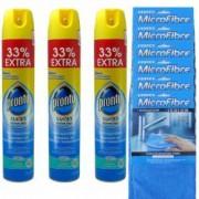 Pachet 3 bucati - Pronto spray universal Multi-suprafete 3 x 400ml + 6 x Laveta MicroFibre universala 30 x 30cm