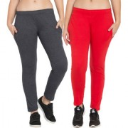 Cliths Dark Grey Red Solid Cotton Lower for Women Stylish Pack of 2|Yoga Pant For Women